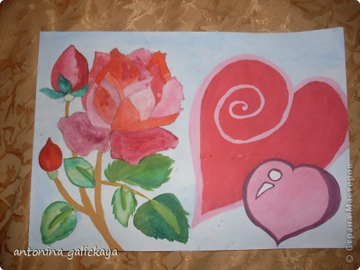 вот такой рисунок я рисовала ко дню святого Валентина  фото 1