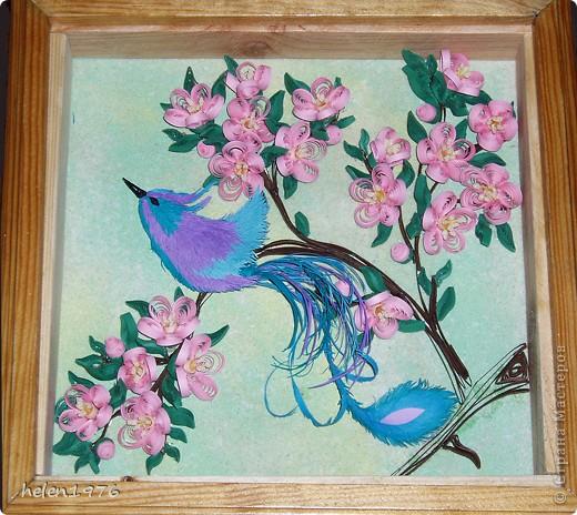 """Понравилась работа Ларисы Анатольевны """"Цветущий персик"""",  http://stranamasterov.ru/node/182301 , захотелось повторить, да и повод подвернулся - у мамы день рождения! фото 1"""