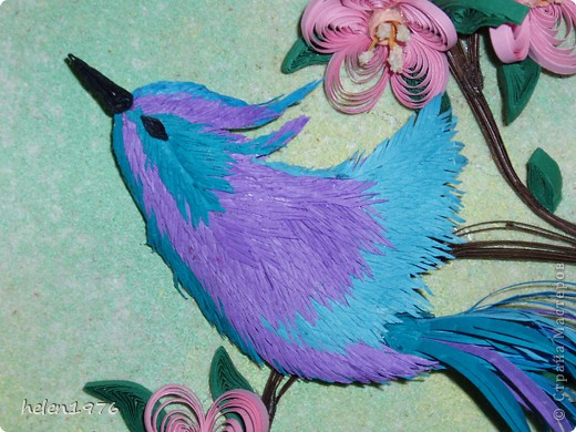 """Понравилась работа Ларисы Анатольевны """"Цветущий персик"""",  http://stranamasterov.ru/node/182301 , захотелось повторить, да и повод подвернулся - у мамы день рождения! фото 3"""