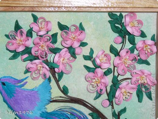 """Понравилась работа Ларисы Анатольевны """"Цветущий персик"""",  http://stranamasterov.ru/node/182301 , захотелось повторить, да и повод подвернулся - у мамы день рождения! фото 5"""