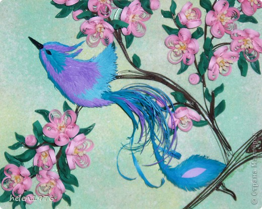 """Понравилась работа Ларисы Анатольевны """"Цветущий персик"""",  https://stranamasterov.ru/node/182301 , захотелось повторить, да и повод подвернулся - у мамы день рождения! фото 2"""