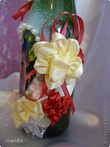 Мой первый опыт в декорировании бутылочек.   фото 4