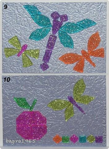 """Была у меня в мешочке мозаика... каких-то разных форм... хотела сделать сначала всего 3 АТСки. А потом что-то разошлась, сделалось 6 штук, и оказалось, что еще не все замыслы реализовала, очень понравилось складывать фигурки... И вот, серия, состоящая из 10 штук. Фон - металлизированный тисненый картон сиреневого цвета """"металлик"""", мозаика с блестками внутри.  Сначала, как всегда, выберут сестра с племянницей, потом кредиторы, если они у меня есть, что-то совсем не ориентируюсь сейчас... Ну, а потом уж... на обмен и в долг, наверное это будет уже завтра к вечеру. И еще... за границу посылать эту серию не желательно бы, так как АТСки достаточно тяжелые и объемные... прошу отнестись к этому с пониманием. фото 7"""