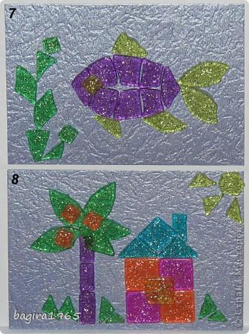 """Была у меня в мешочке мозаика... каких-то разных форм... хотела сделать сначала всего 3 АТСки. А потом что-то разошлась, сделалось 6 штук, и оказалось, что еще не все замыслы реализовала, очень понравилось складывать фигурки... И вот, серия, состоящая из 10 штук. Фон - металлизированный тисненый картон сиреневого цвета """"металлик"""", мозаика с блестками внутри.  Сначала, как всегда, выберут сестра с племянницей, потом кредиторы, если они у меня есть, что-то совсем не ориентируюсь сейчас... Ну, а потом уж... на обмен и в долг, наверное это будет уже завтра к вечеру. И еще... за границу посылать эту серию не желательно бы, так как АТСки достаточно тяжелые и объемные... прошу отнестись к этому с пониманием. фото 6"""