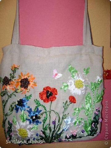 Еще одна сумочка и картинки,вышивка лентами фото 1