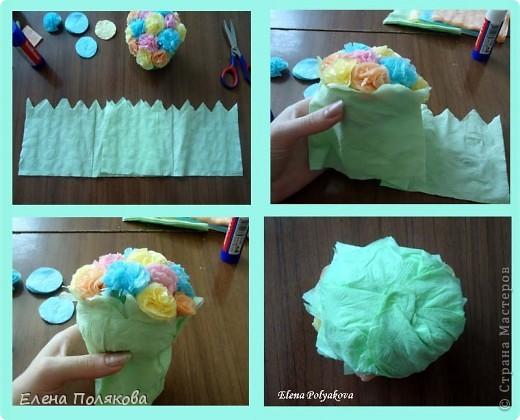 Продолжаем работу с салфетками. На этот раз предложила детям сделать вот такие горшочки с цветами. Первым учился, конечно, мой сын :))), а на следующий день дети в лагере. фото 7