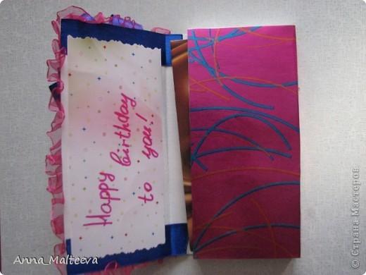 Привет! Это я попробовала сделать открытку-шоколадницу. Сделать хотелось, а идей как-то не было, вот что получилось. ерунда,конечно, полная)  А настроили на работу меня вот эти чудо-шоколадницы http://stranamasterov.ru/node/195815?c=favorite фото 3