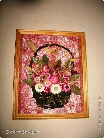 Если  есть в запасе сухоцветы всегда можно быстро сделать оригинальный подарок. Небольшое панно с цветами всегда будет приятно получить женщине. фото 1
