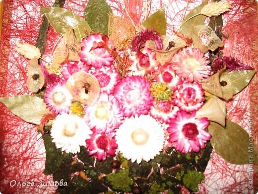 Если  есть в запасе сухоцветы всегда можно быстро сделать оригинальный подарок. Небольшое панно с цветами всегда будет приятно получить женщине. фото 5