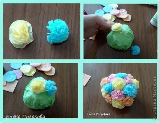 Продолжаем работу с салфетками. На этот раз предложила детям сделать вот такие горшочки с цветами. Первым учился, конечно, мой сын :))), а на следующий день дети в лагере. фото 6