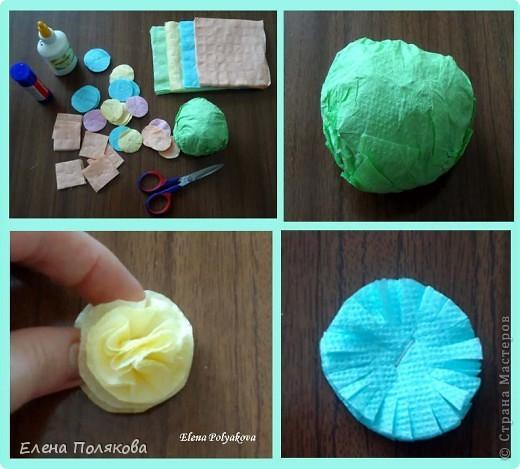 Продолжаем работу с салфетками. На этот раз предложила детям сделать вот такие горшочки с цветами. Первым учился, конечно, мой сын :))), а на следующий день дети в лагере. фото 5