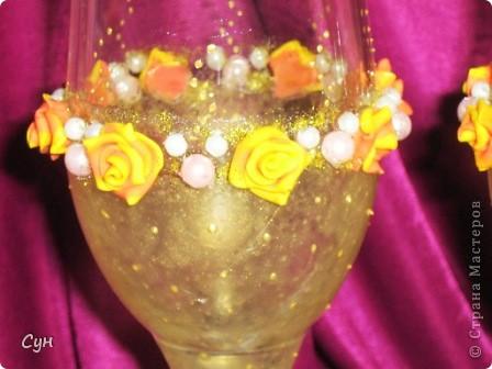 Не обошла и меня страсть к декору свадебных бокалов. Спасибо Олесе Ф. за мастер класс, мастерицам Страны Мастеров за идеи по оформлению и особенно Валентинке Порчелли за помощь и подсказки.  фото 8