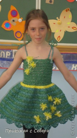 Платье связано специально для участия в Мусорном карнавале. Связано из пакетов для мусора фото 1