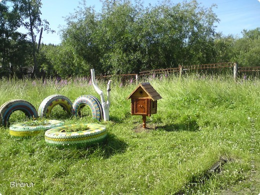 Просто хочу поделиться оформлением наших участков и оформлением клумб вокруг садика. Идеи не мои и сделаны даже не мною (я в отпуске была) Может быть кому то и пригодится ))) фото 9