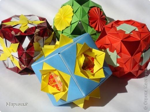 Всем здравствуйте! Эти кусудамы из книги Origami Kusudama - Tomoko Fuse. фото 1