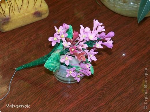 ну что ж, вот они мои первые робкие шаги в освоении холодного фарфора. Конечно скромные цветочки не идут ни в какое сравнение с работами наших мастериц, но я все таки решила похвастаться (даже не стала плетенку лаком покрывать, вот как похвастаться захотелось моим разношерстным букетиком...)  фото 6