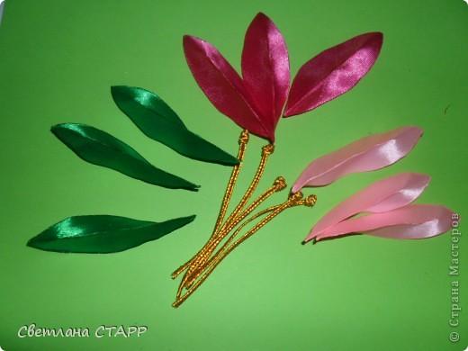 Беру 6 квадратиков ленты такого цвета,какой будет лилия(моя сегодня будет 2-х цветов) и 3 зеленых фото 13