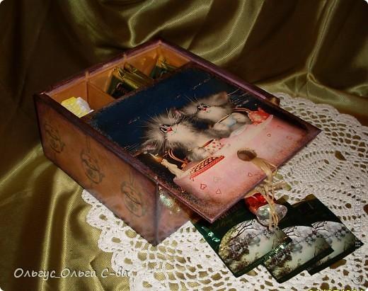 Увидела рисунок художника Xenopus с милым чаепитием котиков и родилась идея сделать с ними чайную коробку. фото 5