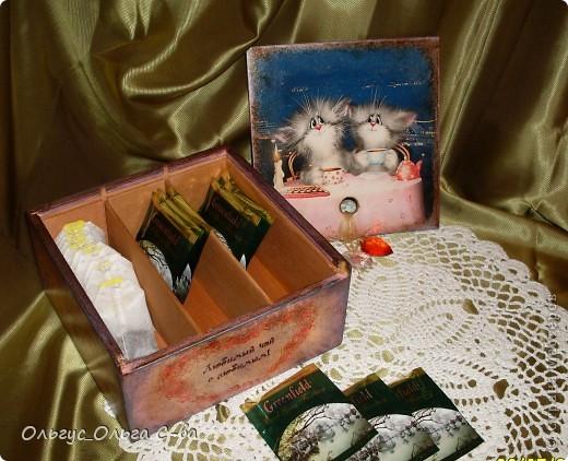 Увидела рисунок художника Xenopus с милым чаепитием котиков и родилась идея сделать с ними чайную коробку. фото 8