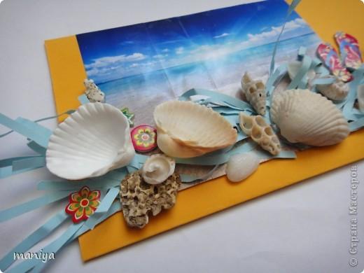 вот такой конвертик для того чтоб красивенько подарить денешку. день рожденье именинница праздновала на море - от сюда и оформление фото 2