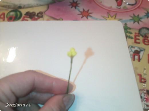 Берем проволоку 13-14 сантиметров (у меня для бисера, другой нет, у нас трудно найти), с одного конца загибаем петелькой. Таких проволочек нужно 28 штук (21 на цветы, 7 на бутоны) На каждый цветок по 3 проволочки.  фото 5