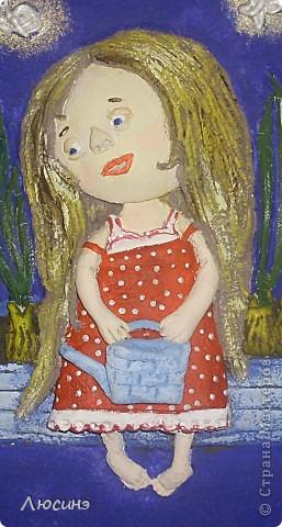 Очень полюбились девочки и мальчики украинской художницы Евгении Гапчинской. Невозможно удержаться, чтобы не повторить её работ. Основа гипсовая, техника выполнения здесь: http://stranamasterov.ru/node/218122. Ещё не покрыта лаком. фото 2