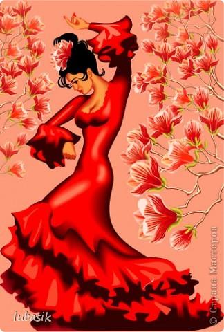 Мне очень нравятся испанки в танце. И я решила запечатлеть на тарелочке.  фото 2