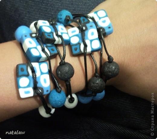 Синие бусы и браслет 2 в 1 фото 2