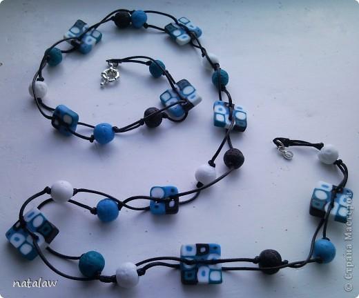 Синие бусы и браслет 2 в 1 фото 1