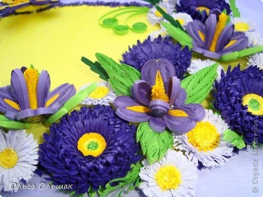 Дорогие мастерицы!На этот раз у меня родилась цветочная композиция   в фиолетово-жёлтых тонах. Наконец -то дождалась солнышка, перефотографировала работу.Это окончательный вариант.   фото 3