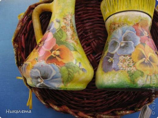 Вот еще один декупажно-плетеный набор сделала в подарок фото 15