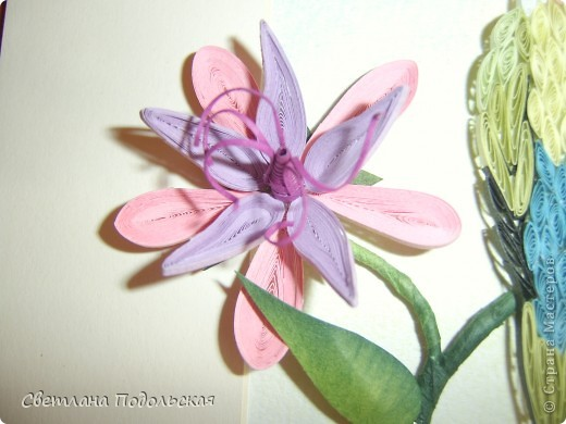 Здравствуйте! На сегодняшний  жаркий день все цветы мне надоели(помните детскую игру....),  и я решила перейти к фауне. Представляю вашему вниманию неразлучника ,сидящего на цветущей ветке южноафриканского каштана. Цветок получился объемный и достаточно необычный.А вот попугайчик плоский. Никак не могла придумать,как сделать его объемным.....Если кто знает секрет.поделитесь.пожалуйста. фото 3