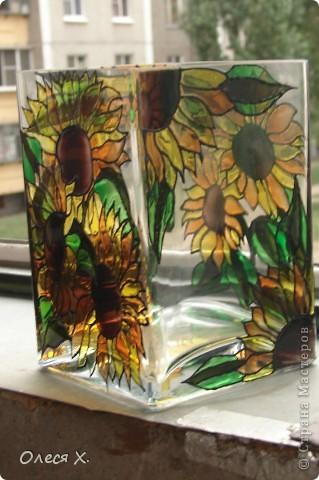 Вот еще одна вазочка. Я влюбилась в витраж)))) фото 5