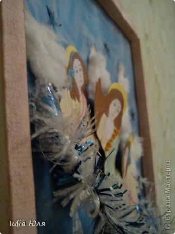 Картина панно рисунок Новый год Рождество Аппликация Рождественские ангелы Бисер Бумага Картон фото 5.