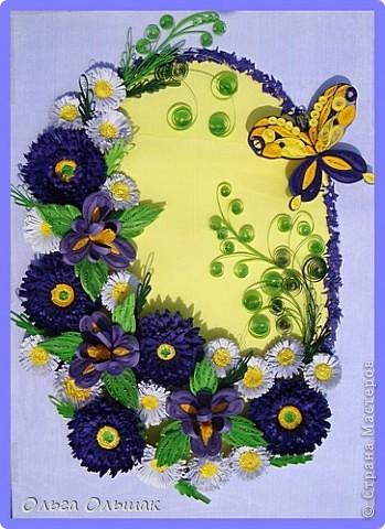 Дорогие мастерицы!На этот раз у меня родилась цветочная композиция   в фиолетово-жёлтых тонах. Наконец -то дождалась солнышка, перефотографировала работу.Это окончательный вариант.   фото 7