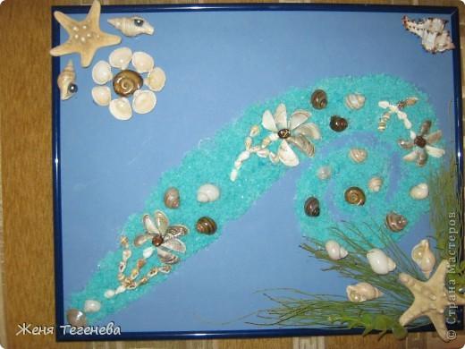 Давно хотела сделать морское панно, да не было материалов. А в этом году впервые за 4 года вырвалась на море, заодно и ракушек подсобрала) фото 1