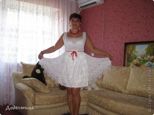 """Моя коллега связала мне очень красивое летнее платье. Юбка связана узором """"ананас"""""""