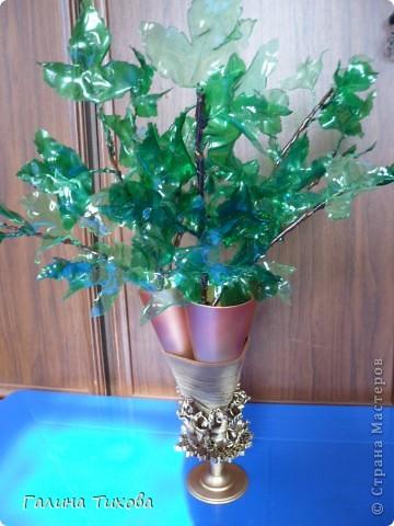 Вазу я сделала из одноразовых фужеров, декорировала эластичным носком и макаронами; ветки изготовила из пластиковых бутылок. фото 34