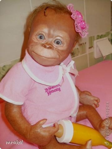 Орангутан Бинди родилась только вчера, и уже  позирует перед объективом. Расписана запекаемыми красками генезис. Глазки вставлены акриловые, когда придёт посылка с материалом, то  поменяем на стекло.  Фоточек пока мало, позже выставлю ещё. фото 9