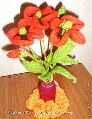 Вот такие цветочки детвора связала еще год, два назад... фото 3