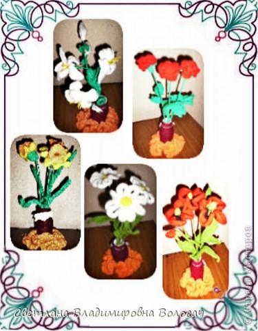 Вот такие цветочки детвора связала еще год, два назад... фото 12