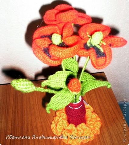 Вот такие цветочки детвора связала еще год, два назад... фото 2
