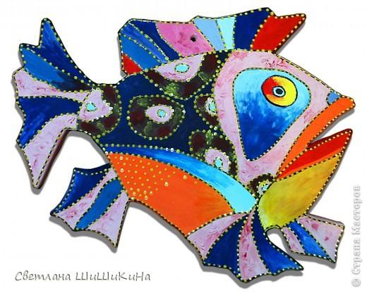 Нашла в интернете красоту в технике батик художника и дизайнера Игоря Платова.  Основу отлила из гипса и расписала. фото 1