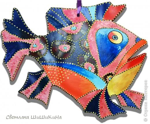 Нашла в интернете красоту в технике батик художника и дизайнера Игоря Платова.  Основу отлила из гипса и расписала. фото 2