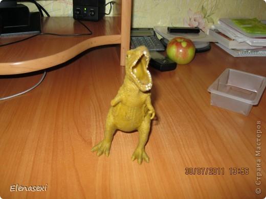 Здравствуйте, мастерицы!!!!  Мой сынишка очень любит динозавриков, их у него видимо - невидимо! Это только часть...... У сынули был динозаврик из мягкой резины, а внутри он был наполнен мелкими шариками. Вот и порвался его любимый динозаврик, а из дырочки стали высыпаться эти шарики. фото 2