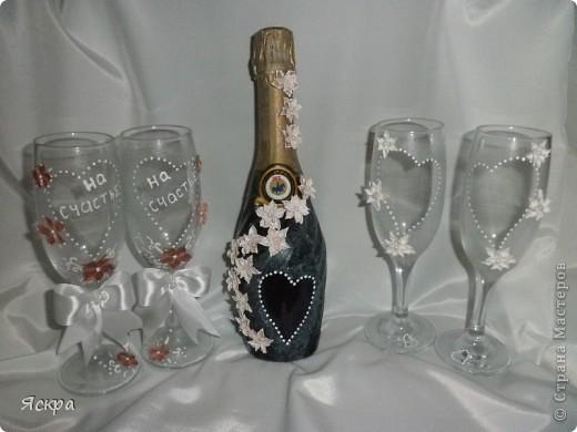 мой свадебный набор. Слева бокалы для битья, справа - для торжества фото 1