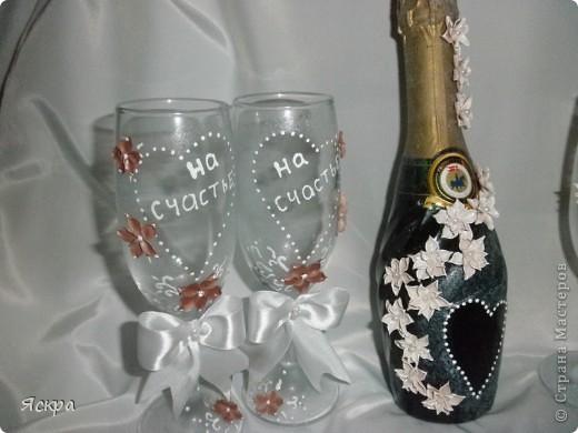 мой свадебный набор. Слева бокалы для битья, справа - для торжества фото 3