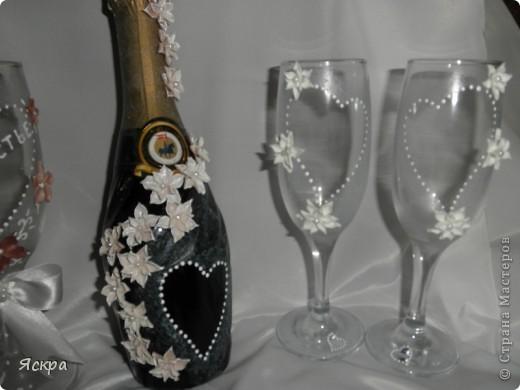 мой свадебный набор. Слева бокалы для битья, справа - для торжества фото 4