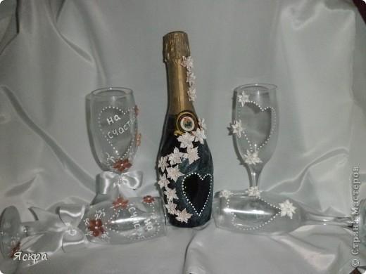мой свадебный набор. Слева бокалы для битья, справа - для торжества фото 2