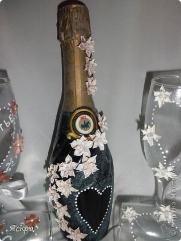 мой свадебный набор. Слева бокалы для битья, справа - для торжества фото 5